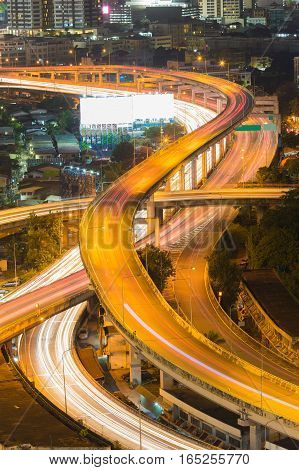 Close up highway intersection aerial view long exposure night view