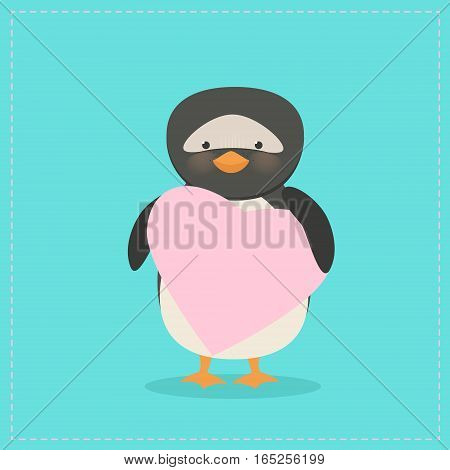 Penguin holding a heart. Plush toy penguin with heart. Gift. Postcard on Valentine's Day birthday Mother's Day. Vector cartoon