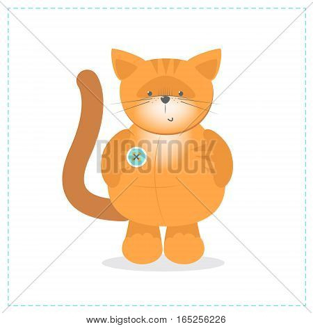 Cute ginger kitten plush toy. Vector cartoon