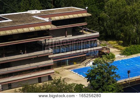 Karlovy Vary, Czech Republic - July 3: People By Hotel Thermal Pool During Karlovy Vary Internationa