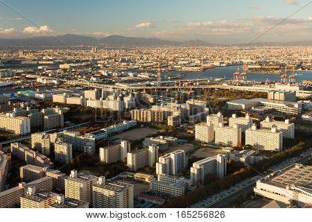 Osaka city residence area skyline view form Cosmo Squa Building Japan