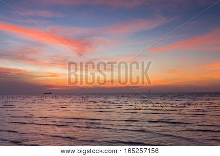 Beauty of sunset sky over seacoast skyline natural landscape background