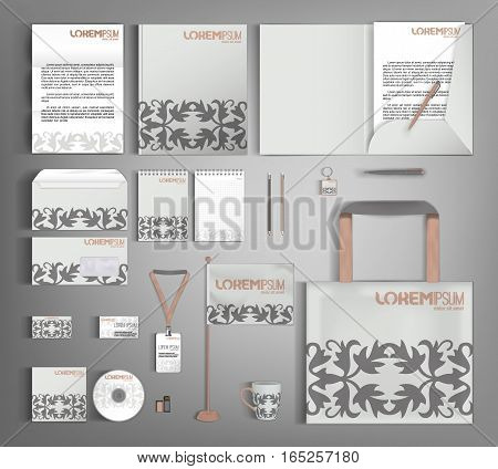 Corporate identity template design with vintage design elements. Business set stationery.