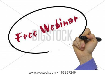 Woman Hand Writing Free Webinar On Blank Transparent Board With A Marker Isolated Over White Backgro
