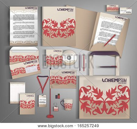 Beige corporate identity template design with abstract pattern. Business set stationery.