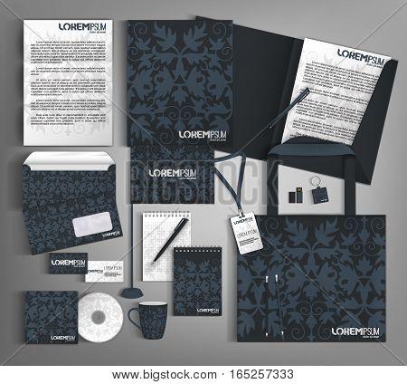 Dark blue corporate identity. Business set stationery.