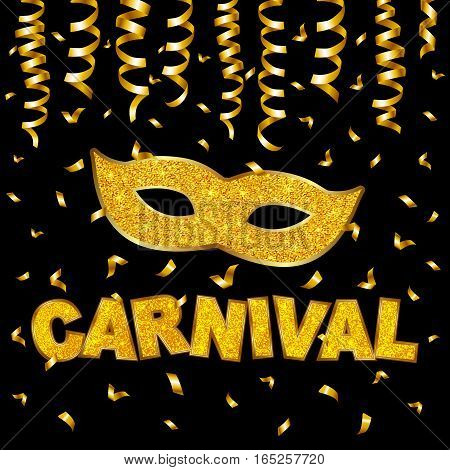 Carnival gold glitter texture mask and serpentine. Mardi Gras holiday card design template. Vector Illustration.