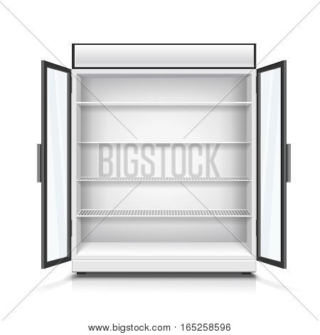 Realistic empty commercial fridge with shelves and opened doors isolated vector illustration
