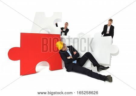Coworkers find tired foreman sleeping near puzzle isolated on white background