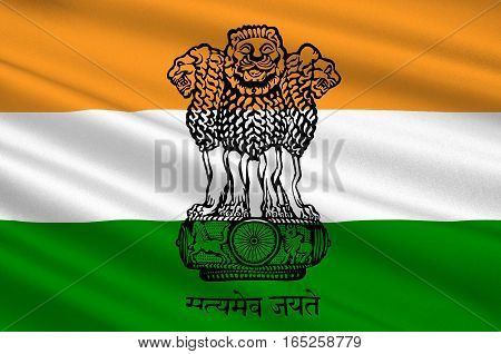 Flag of India officially the Republic of India is a country in South Asia. 3D illustration