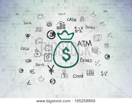 Money concept: Painted green Money Bag icon on Digital Data Paper background with  Hand Drawn Finance Icons
