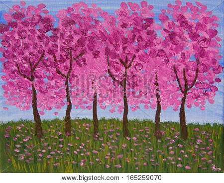 Spring garden in pink colours oil painting.