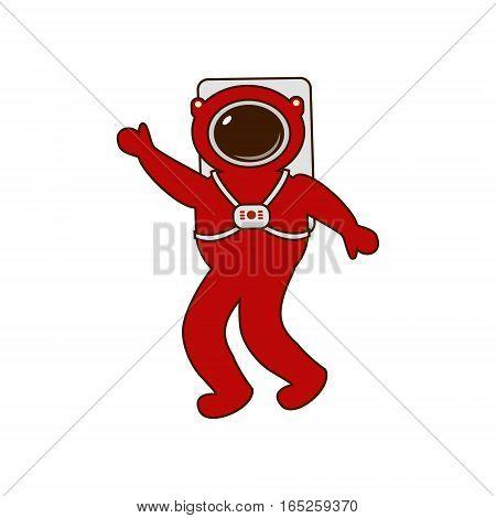 Astronaut icon. Astronaut suit astronaut waving. Vector logo