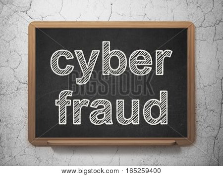 Privacy concept: text Cyber Fraud on Black chalkboard on grunge wall background, 3D rendering