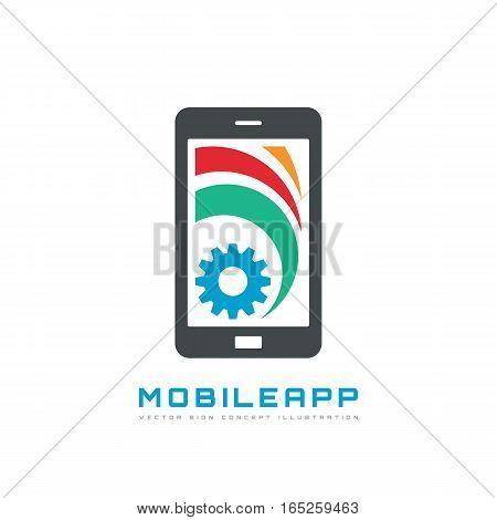Mobile phone app - vector business logo template concept illustration. Smartphone creative sign. Modern technology. Cogwheel cellphone SEO icon. Design element.