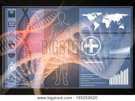 Media medicine background image as DNA research concept, 3D rendering