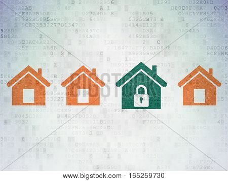Protection concept: row of Painted orange home icons around green home icon on Digital Data Paper background