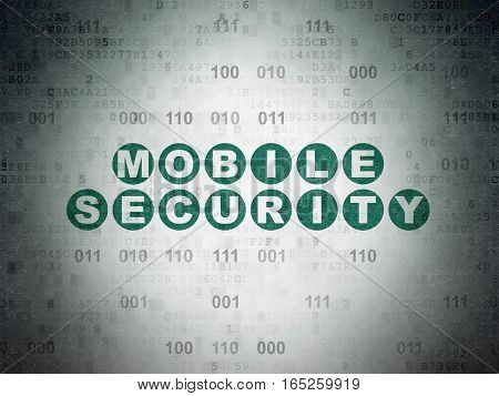 Protection concept: Painted green text Mobile Security on Digital Data Paper background with Binary Code