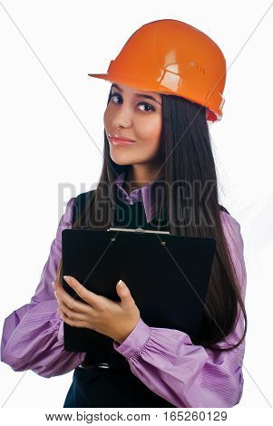 Young female worker with protection helmet over white isolated background