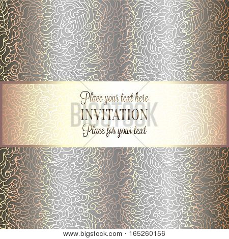 Romantic Background With Luxury Holographic Gold Vintage Frame, Victorian Banner, Made Of Feathers W