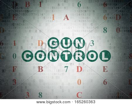 Privacy concept: Painted green text Gun Control on Digital Data Paper background with Hexadecimal Code