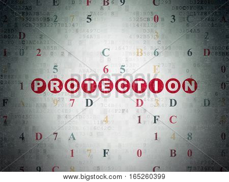 Privacy concept: Painted red text Protection on Digital Data Paper background with Hexadecimal Code