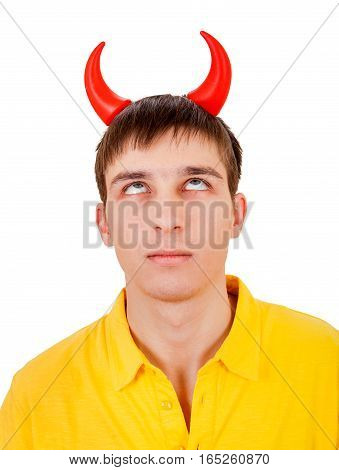 Young Man with Devil Horns Isolated on the White Background
