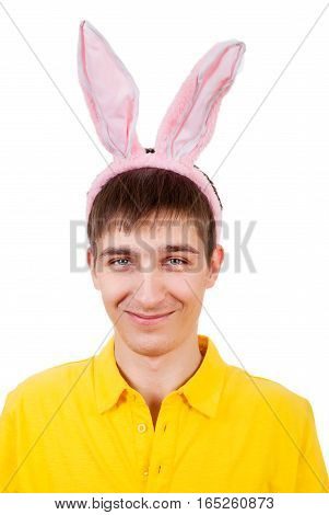 Young Man with Rabbit Ears Isolated on the White Background
