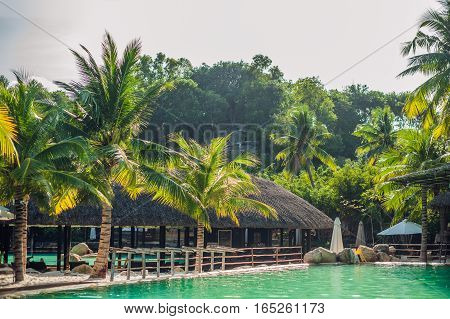 Swimming Pool, Palm Trees And Tropical Buildings With Thatched Roof