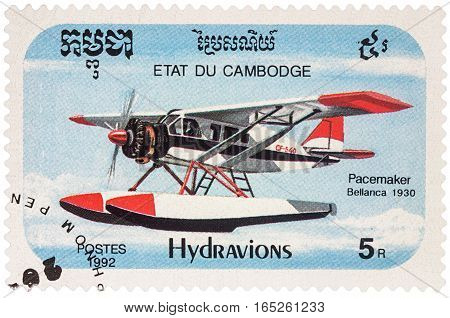 MOSCOW RUSSIA - January 10 2017: A stamp printed in Cambodia shows American seaplane Bellanca Pacemaker (1930) series
