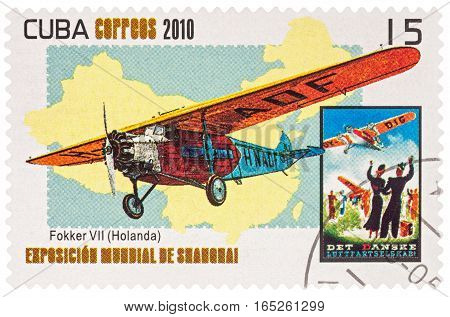 MOSCOW RUSSIA - January 12 2017: A stamp printed in Cuba shows Fokker D.VII a German World War I fighter aircraft designed by Reinhold Platz series