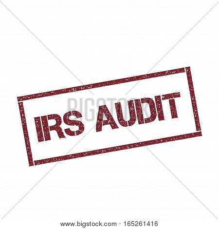 Irs Audit Rectangular Stamp. Textured Red Seal With Text Isolated On White Background, Vector Illust