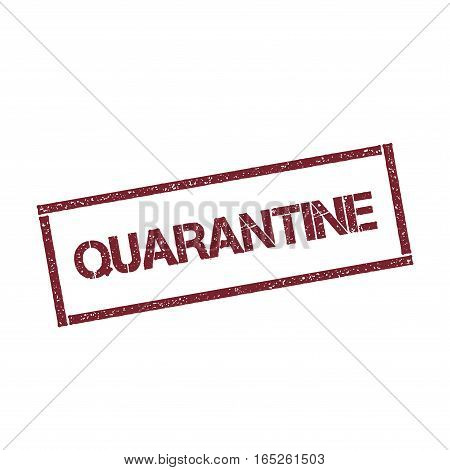 Quarantine Rectangular Stamp. Textured Red Seal With Text Isolated On White Background, Vector Illus