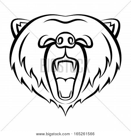 Roaring bear icon isolated on a white background. Bear logo template, tattoo design, t-shirt print. Wild animal contour logo.