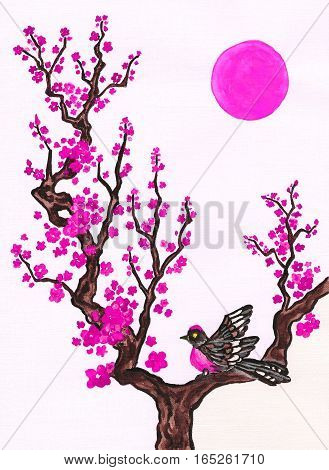 Bird on branch with pink flowers on white background vertical hand painted picture watercolours in traditions of old Chinese painting. Size of original 295 x 21 sm.
