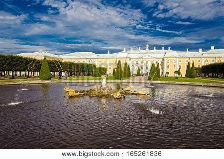 Monument of architecture Grand Palace - the main building of the palace and park ensemble Peterhof September 14 2016 St. Petersburg Russia