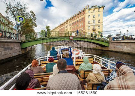 Waterbus walk on the tourist boat September 14 2016 St. Petersburg Russia