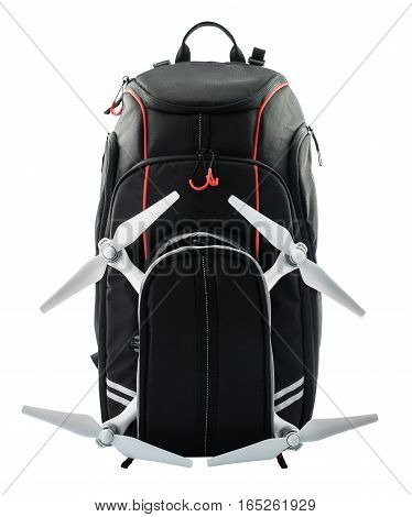 Black Backpack, Isolated Over White Background, Clipping Path