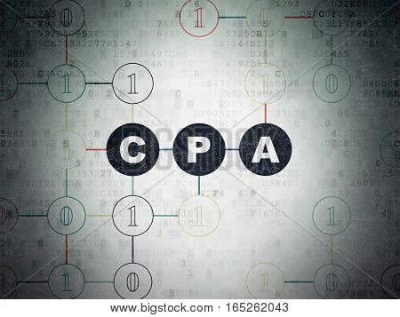 Business concept: Painted black text CPA on Digital Data Paper background with Binary Code