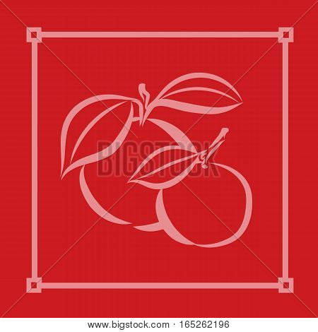 graphic design editable for your design, hand drawn symbolic fruit with Asia style frame on red. Vector Illustration.