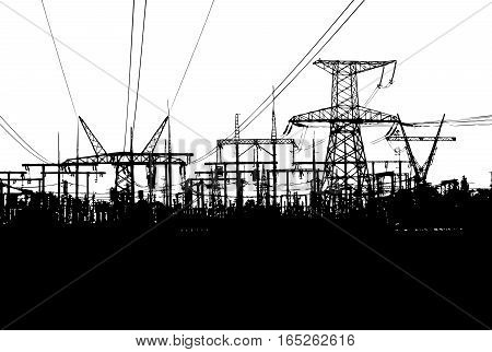 Black-and-white Vector Illustration With Electric Towers Isolated on White Background