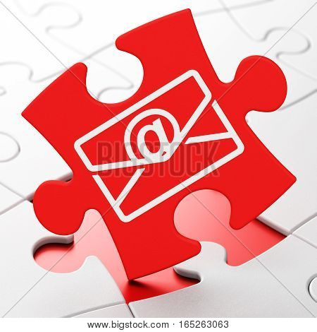 Finance concept: Email on Red puzzle pieces background, 3D rendering