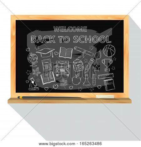 Back to school set.Vector School Chalk board with education or graduate icon set in doodle chalk style