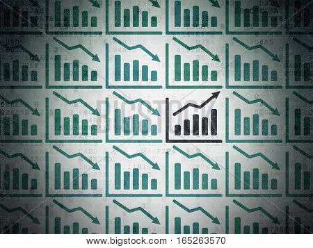 Business concept: rows of Painted blue decline graph icons around black growth graph icon on Digital Data Paper background