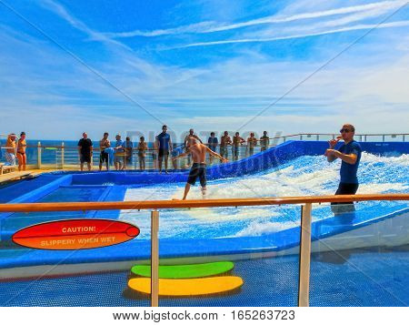 Barsclona, Spain - September 12, 2015: The cruise ship Allure of the Seas by the Royal Caribbean International. Exterior views of the ship - amusement artificial wave