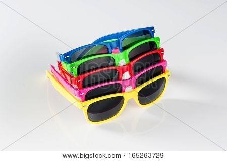 Modern sunglasses isolated on white background with copy space. Product photograph with room for text.