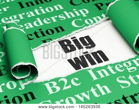 Finance concept: black text Big Win under the curled piece of Green torn paper with  Tag Cloud, 3D rendering