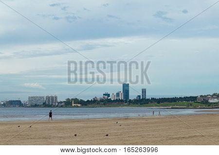 walking on the beach in uruguayan coast