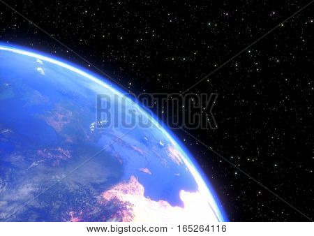 planet earth in space closeup. 3D render