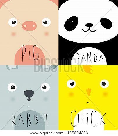 Set of animal muzless pig panda rabbit chick dwawing in cute cartoon style